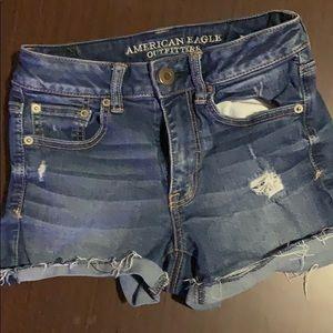 American Eagle Medium wash High Waisted Shorts